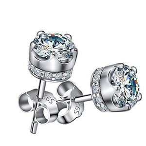 925 Sterling Silver Crowne Stud Earrings For Women Embellished With Crystals From Swarovski Party Gift Fashion Jewelry