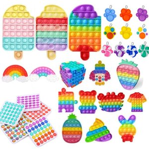 DHL Rainbow Push Fidget Toy Toy Sensory Push Bubble Fidget Sensory Sensory Autisme Nécessité Spécial Stress Stress Stress Strife pour Office Fluorescen Stock