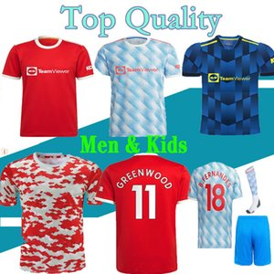 21 22 Sancho Rashford Soccer Jersey 2021 2022 Manpogba Cavani Martial Shaw Utd Van de Beek B. Fernandes Lingard Greenwood Futebol Camisa United Mans Kits Kits