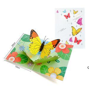 Lovely 3D Pop Up Romantic Butterflies Greeting Card Laser Cut Animal Postcard Cartoon Handmade Creative Gift DHF6273