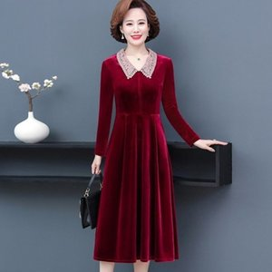 Party Dresses long sleeve middle aged woman spring and autumn velvet skirt hi mother in law Wedding dress