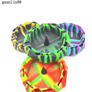 """Silicone Ashtray unbreakable soft rubber 4.5"""" Diamond Cut Circle Colorful Pattern Ashtrays Home Office Decoration"""