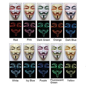 Halloween LED Mask Light Up Funny Masks Vendetta wire Mask Flashing Cosplay Costume Anonymous Mask for Glowing in Dark ZZD8752