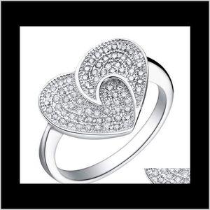 Anelli di cluster Jewelry Drop Consegna 2021 A forma di cuore con la tecnologia del diamante full Diamond Platinum 18k JL8VC