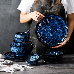 Ceramic Dinner Plates And Bowls Blue Dishes Creative Japanese Retro Kiln Changed Tableware Dinnerware Set Plate Platos De Cena Q0108