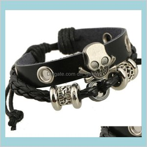 Drop Delivery 2021 Fashion Handmade Skull Charm For Men Multilayer Infinity Alloy Beads Wide Black Leather Bracelets Jewelry Yak9Z