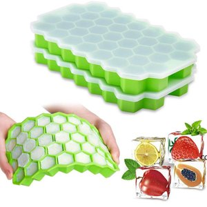Honeycomb Ice Cube Trays with Removable Lids Silica Gel Ices Coolers Cubes Mold BPA Free Homemade Silicone Model DIY Iced DHF8869