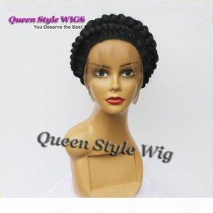 Incredibile cappello nero acconciatura piena parrucca di pizzo intrecciata intrecciata parrucca piena del merletto custom African American parrucca piena del merletto per le donne bianche nere