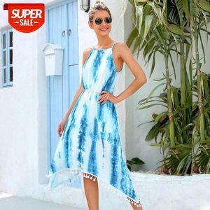 Vestido de verano de moda Sin mangas A-Line Spaghetti Correa Impresión Tassel Streetwear Sin tirantes Natural Rodilla Msfilia Party # 5m4r