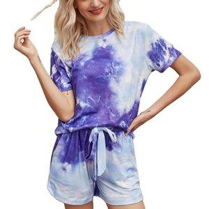 Summer Print Pullover Cotton Casual Lounge Wear Tracksuit Women Vetement Femme Ensemble Female Tshirt Two Piece Set Shorts Women's Tracksuit