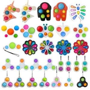Unicorn Butterfly Flower Shape Push Pop It Fidget Bubble Toys Party Favor Sensory Simple Dimple Key Ring Finger Toy Keychain Squeeze Bubbles Ball