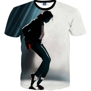 Fashion t Shirt Europe and America Hip Hop Men Short Sleeve 3d T-shirt Funny Print Michael Jackson Slim Summer Tops 1p
