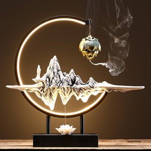 Mountain Large Backflow Lamp Incense Burner Holder Eletric Fountain Plug In Mosquito Coil Quemador Incienso Aroma BK50XX Fragrance Lamps