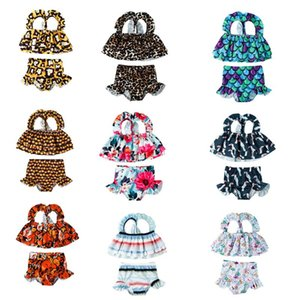 2Pcs Infant Bathing Suits Baby Girl Sleeveless Layered Printed Ruffle Bikini Top+Swimming Bottoms Swimwear Outfits 1-5Y One-Pieces
