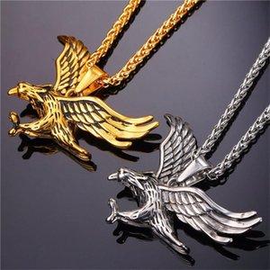 Collares colgantes Collar de cadena Hombres Acero al por mayor Eagle colgantes Oro inoxidable Hip Hop Joyería larga en el cuello
