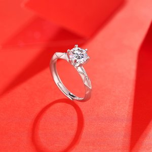 Ring 925 Sterling Silver 1 Ct D Color 65 mm Excellent Cut Pass Diamond Test Moissanite Rings for women Jewelry