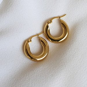 Tarnish Free 316L Stainless Steel Shiny Polish Chunky Hoop Earrings for Women Ladies Minimalist Circle Gold Earring2021