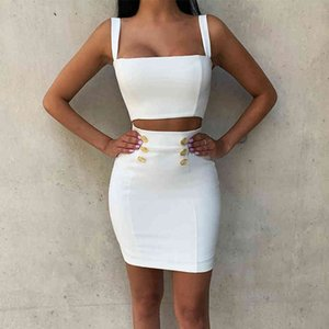 Ocstrade Summer 2 Piece Bandage Dress 2020 New Airrival Women Rayon White Bandage Dress Bodycon Mini Sexy Two Piece Set Outfit