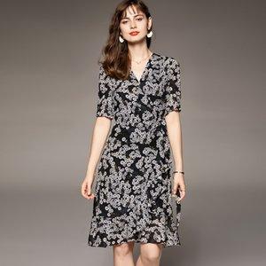 100% натуральные шелковые женские платья Sexy V-шеи с короткими рукавами оборками цветочные напечатанные шнуровки пояса мода летнее платье