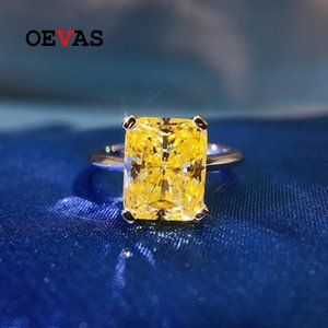 Cluster Rings OEVAS 100% 925 Sterling Silver 8*10mm Yellow High Carbon Diamond Radiant For Women Sparkling Wedding Party Fine Jewelry