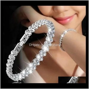 Bracelets Jewelry Drop Delivery 2021 Wholesale Europe America Full Crystal Bracelet Bangle Tennis Diamond Style Sier Braceklet For Women And