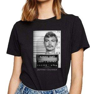 Tops T Shirt Women Jeffrey Dahmer Serial Killer Mugs Basic Black Cotton Female Tshirt Women's T-Shirt