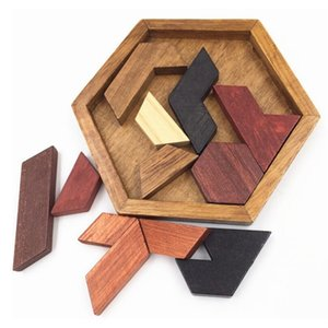 Kids Puzzles Wooden Toys Tangram Jigsaw Board Geometric Shape Training Brain IQ Games Puzzle Educational Toys for Children Christmas Gift