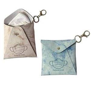 Reusable Mask Storage Bags Keychain Portable Dust Masks Bag Keyring Pendant Fashion PU Leather Car Key Chain Accessories GWE5715