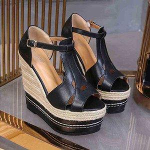 صنادل تو مع إسفين الصيف أحذية عالية الكعب منصة ملهى ليلي المرأة حذاء واسعة الحجم 32 210619 4DNL