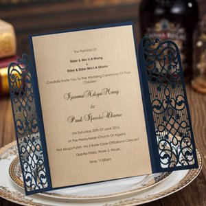 Wholesale-Laser Cut Wedding Invitation Cards Navy Blue Party Invitations for Marriage Bridal Shower Baby Shower Birthday Card OWD10257
