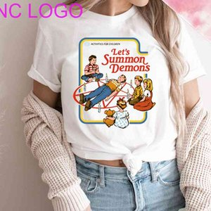 Let's Summon Demons Women T Shirts Wicca Spooky Halloween Tshirts 90s Aesthetic Tumblr Vintage White Tops College Goth Tee Shirt