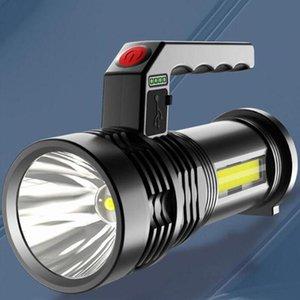 Flashlights Torches Portable Led Flash Light Hand Searchlight Night Lamp Torchses Powerful Long Range USB Recharge Floodlight Hun