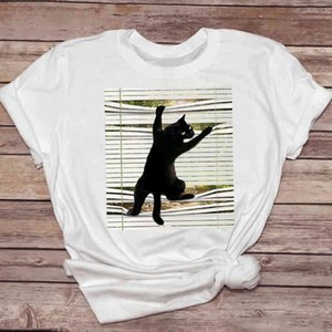 Cool Straight Cartoon Kawaii Cat Women's Fashion Clothing T-shirts Casual T-shirt Women's 90s Top Lady Print Graphic Tea T-shirt