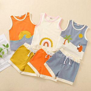 kids Clothing Sets girls boys Sun rainbow outfits Children Tops+shorts 2pcs set summer fashion Boutique baby Clothes Z2813