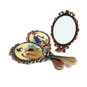 Hand-held Makeup Mirrors Romantic Vintage Hand Hold Mirror Oval Cosmetic Hands Held Tool With Handle For Women HWE9427