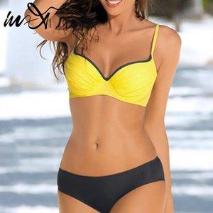 여성 수영복 in-x 플러스 사이즈 여성들이 Bikinis 2021 Mujer 노란색 비키니 섹시한 수영복 여성 비치웨어 큰 수영복 XL