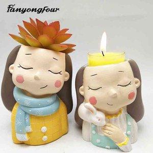 3D красивая девушка цветочный горшок силиконовые формы выпечки плесень шоколада смола свеча плесень 210408