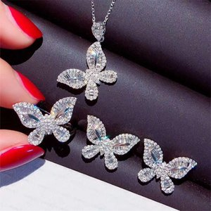 Butterfly Lab Diamond Jewelry Set Real 925 Sterling Silver Party Wedding Rings Earrings Necklace For Women Moissanite Bracelet, &