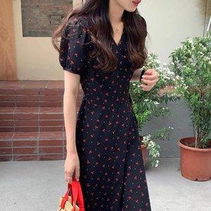 Платья для беременных 2021 женская вишня длинное платье V-образным вырезом с коротким рукавом Высокая талия Slim Style для летнего праздника выпускного вечера