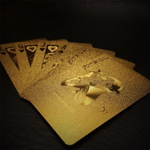 New 24K Gold Playing Cards Poker Game Deck Gold Foil Poker Set Plastic Magic Card Waterproof Cards Magic Waterproof high quality 778 V2