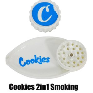 Cookies 40mm Grider with Funnel 2 in 1 Grinder Leaf Shape Plastic Vape Cigarette Herb Griders 2in1 Smoking Accessories DHL