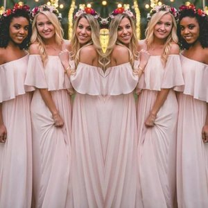 2021 Pink Bridesmaid Dresses Off the Shoulder Chiffon Floor Length Pleats Ruched Maid of Honor Gown Beach Wedding Guest Party Wear vestido