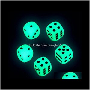 Gambing 14Mm Luminous D6 Glowing Dice Glow Dark Bosons Drinking Games Funny Pub Bar Game Toys Good Price High Quality S1 Zinnj V24Zf