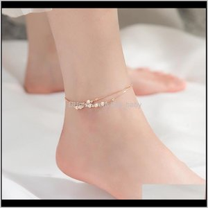 Miqiao 925 Sterling Silver Beach Leg Accessories Ankle Bracelets For Women Simple Frosted Bead Feminine Doublelayered Footwear F1219 F Pervz