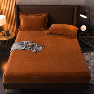 Sheets & Sets Winter Thickened Flannel Fitted Sheet With Elastic Bands Non Slip Dustproof Keep Warm Mattress Protector Covers180*200CM