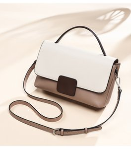 Women's shoulder splicing color chain fashion small messenger bag designer luxury high quality handbag leather