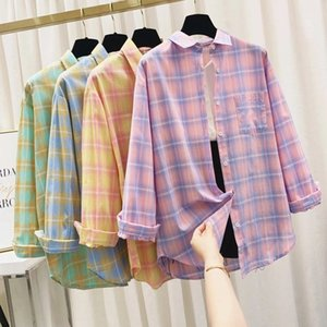 shirts thin check sunscreen T-shirt loose medium Korean shirt blouse fashion lapel