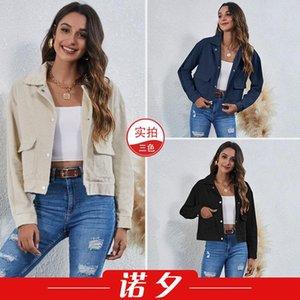 Moda transfrontaliera in primavera e risvolto estivo in velluto a corto corto giacca in cotone 1617jackets per le donne Giacche da donna