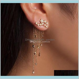 Charm Drop Delivery 2021 Star Tassel Gold Chains Stud Earrings Dangle Cuff Women Fashion Jewelry Will And Sandy Gift Mfues
