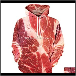 & Womens Clothing Apparel Drop Delivery 2021 Onseme Unisex-Adult Meat Print Kangaroo Pocket Hoodie Funny Pork 3D Hooded Sweatshirts Men Women